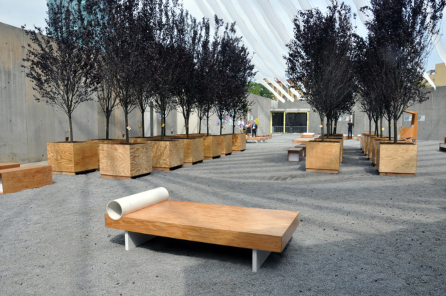 Wooden furniture assembled in a courtyard