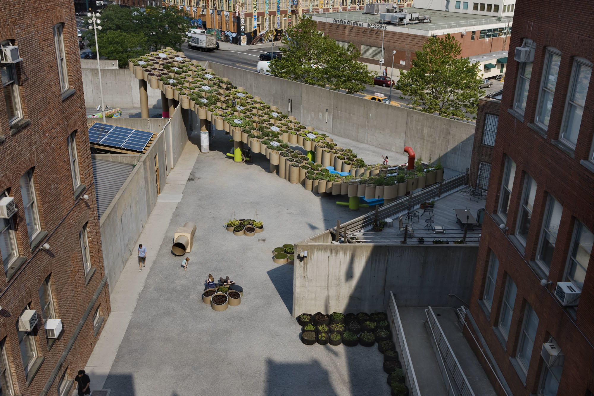 Aerial photo of the MoMA PS1 courtyard for the young architects program