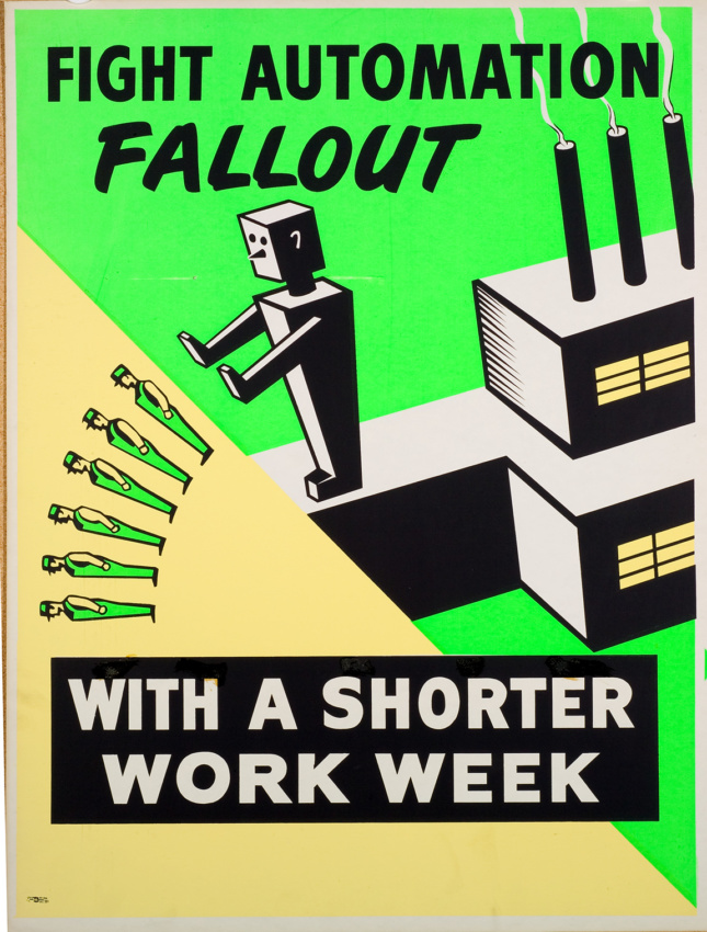 A poster with a robot pushing people off a cliff