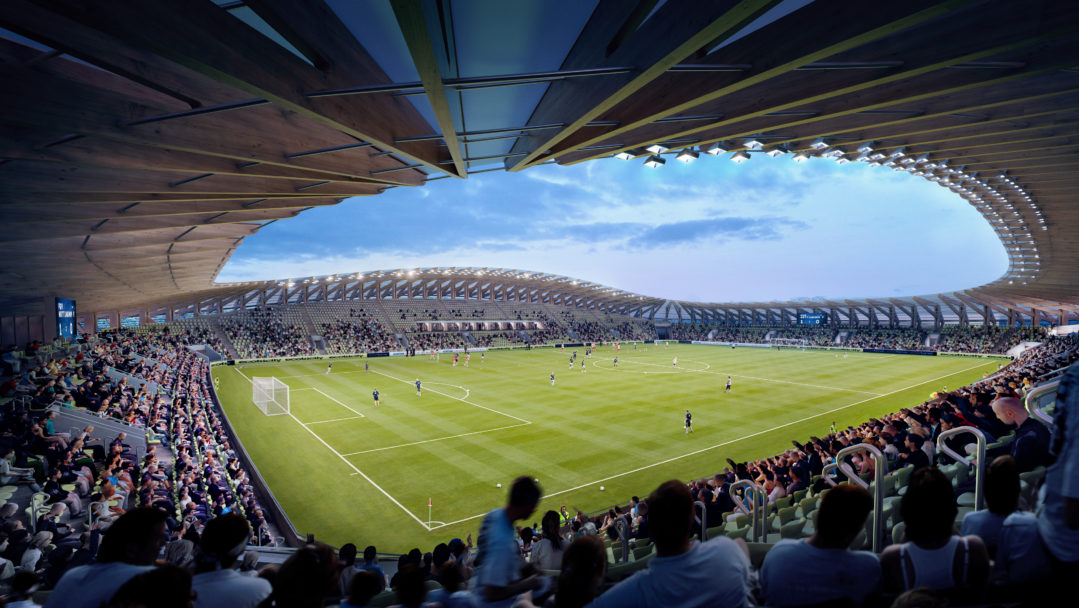A rendering of an all-timber constructed football stadium designed by ZHA