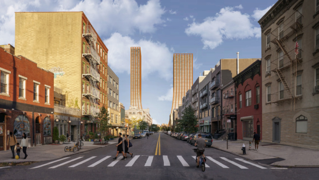 Rendering of a street with two towers framing views of a river