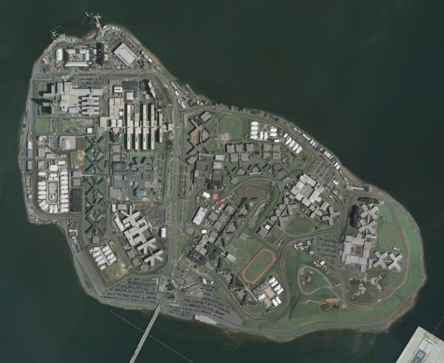 An aerial view of Rikers Island in New York City