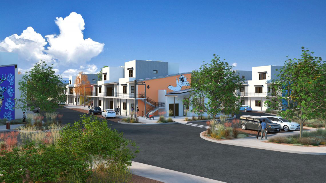 Rendering of complex at street level, with 2-story housing units