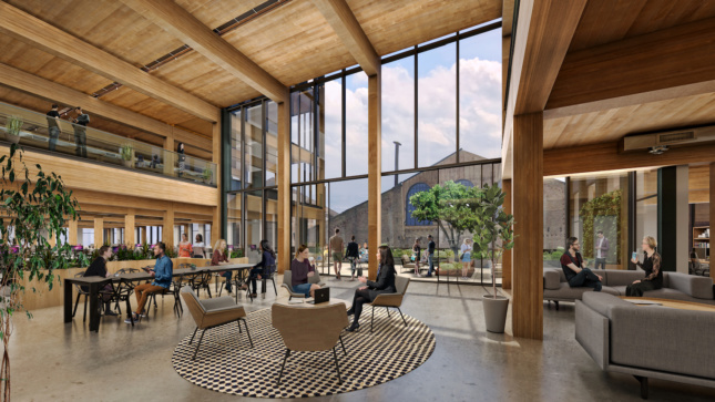 Rendering of interior office lounge with all-wood construction and double height windows looking out to Pier 70