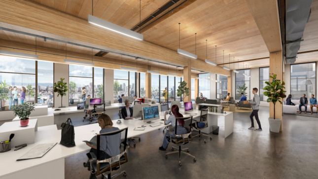 Rendering of open office plan with wood ceiling