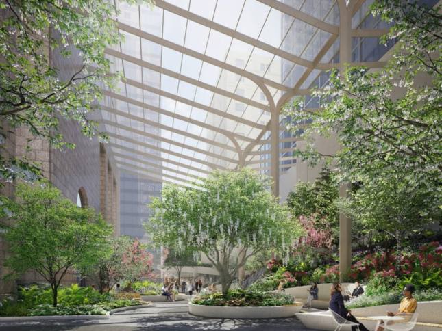 Rendering of trees and plants galore underneath glass canopy of public plaza