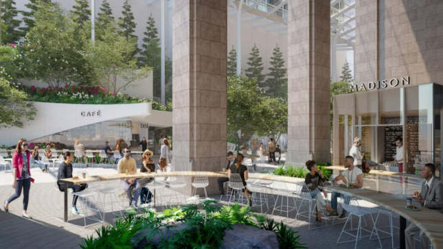 Rendering of public space outside granite facade building with white angular cafe and a sign that reads 550 Madison