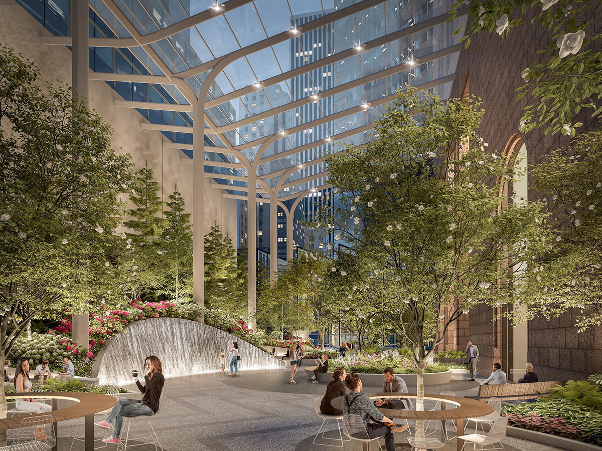 Rendering of outdoor public plaza covered by skeleton-like glass canopy and featuring tall trees, a water feature, and wooden circular benches behind 550 Madison