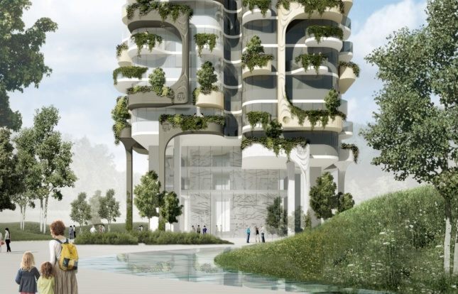 A tower is situated within green space. Overlapping terraces have a lot of greenery on them.