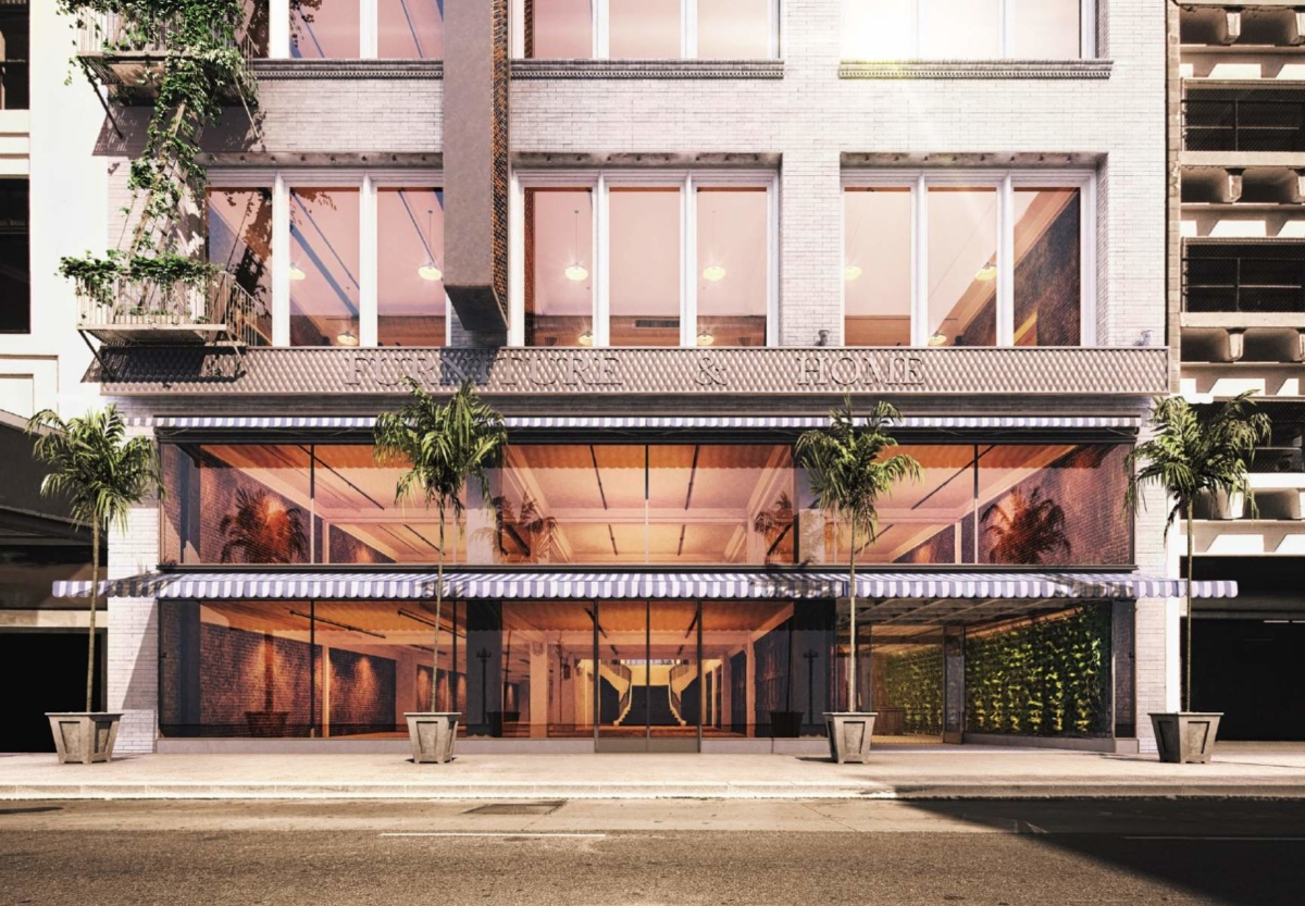 Rendering of a storefront in downtown Los Angeles