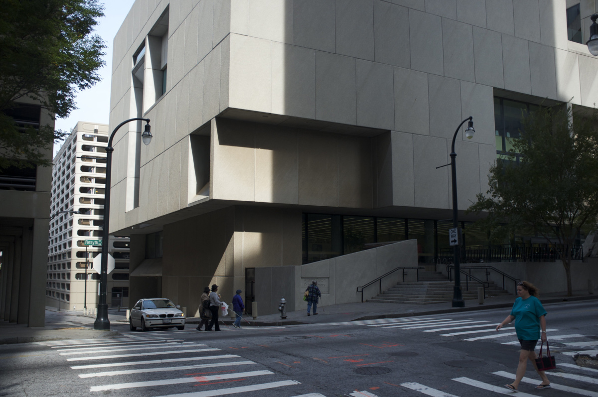 Exterior image of brutalist building, the Atlanta Central Library
