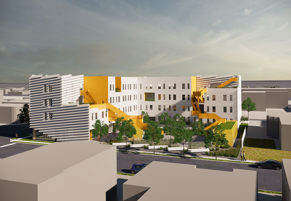 digital rendering of a large residential building with yellow stairwell massing