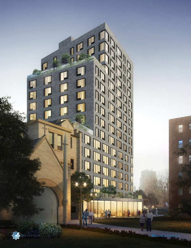 A rendering of a brick building with rooftop terraces and green spaces, the new Stonewall House