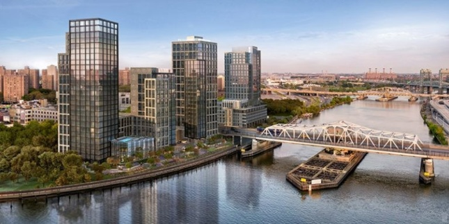 a rendering of a new multi-use complex lines the bronx's harlem river