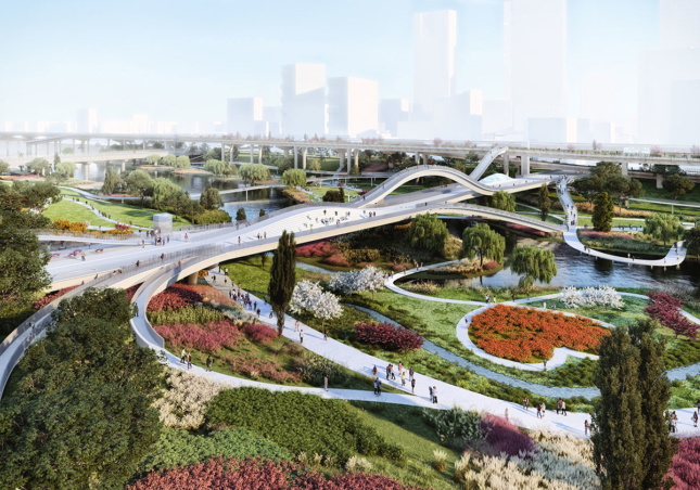 Rendering of the park from above, with waterfront greenery and winding bridge-like paths
