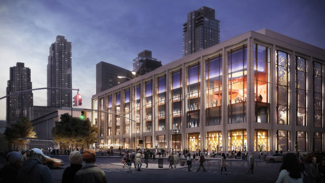 A rendering of the corner of Lincoln Center lit up.