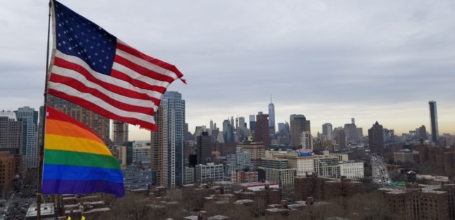 an american flag and a rainbow flag fly on top of a building in brooklyn which show views of downtown brooklyn and lower manhattan