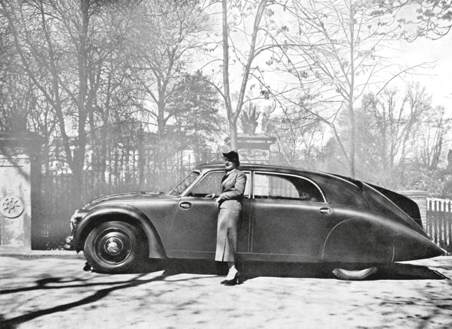 Black-and-white file photo of an old car
