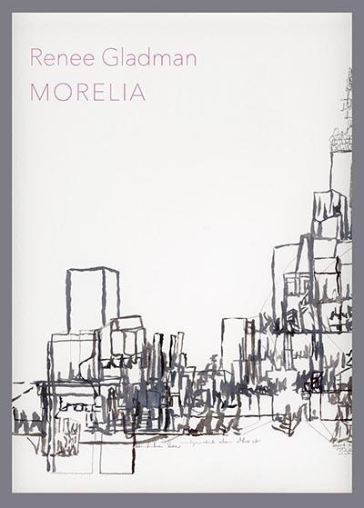 A book cover with a sketched out black skyline on it.