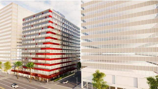 Rendering of two boxy office buildings with a strip of red running through one of them