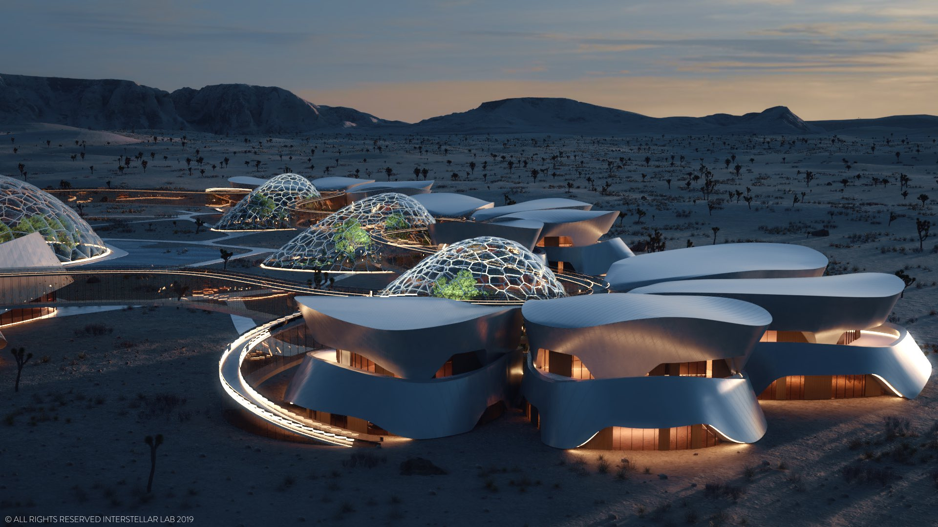 Rendering of space-like settlement in the Mojave Desert, with Mars conditions