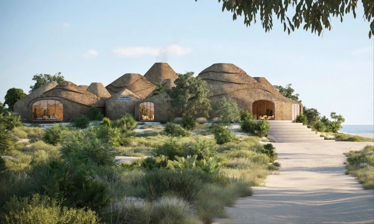 Renderings of thatched huts on a beach