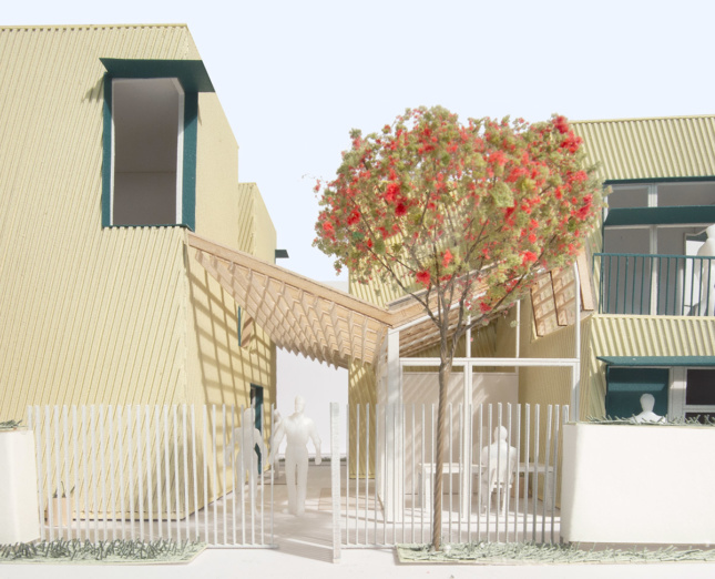 Digital rendering of the exterior of two residential buildings and an alleyway that runs inbetween then