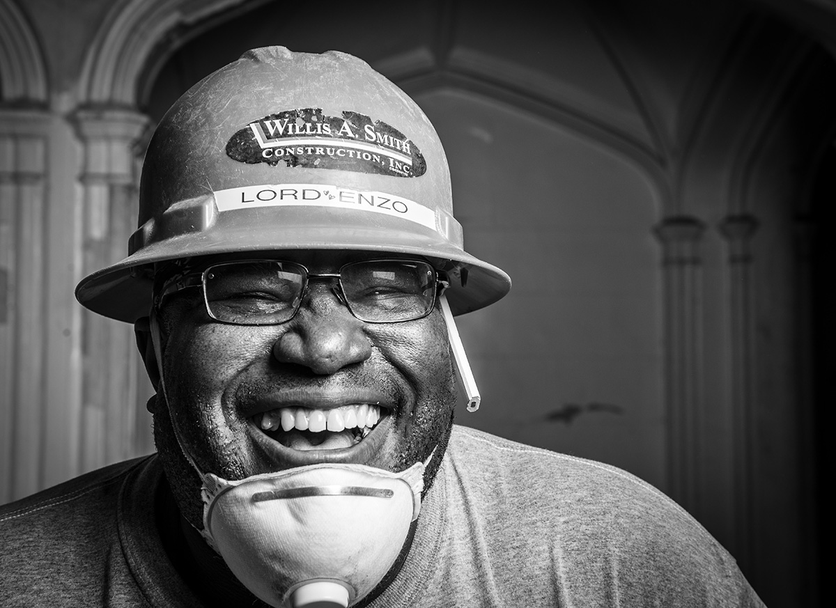 Close up image of construction worker smiling in Sarasota