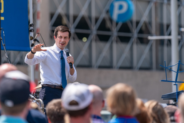Pete Buttigieg at a campaign rally