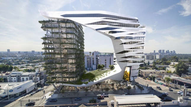 Rendering of white, jaw-shaped building attached to open-air tower with greenery hanging off the sides