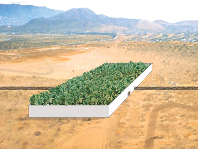 Rendering of an Avante Garde forest on top of a white box