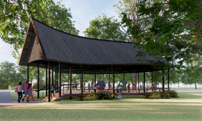 Rendering of an open-air wooden pavilion with a gabled roof