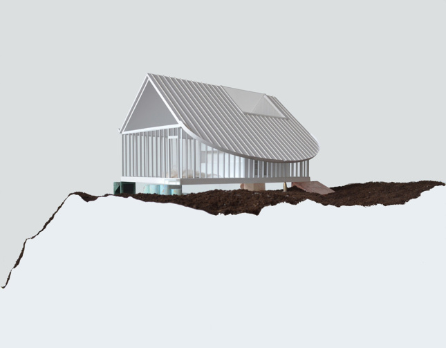 Digital rendering corner view of a frame of a gable roof house