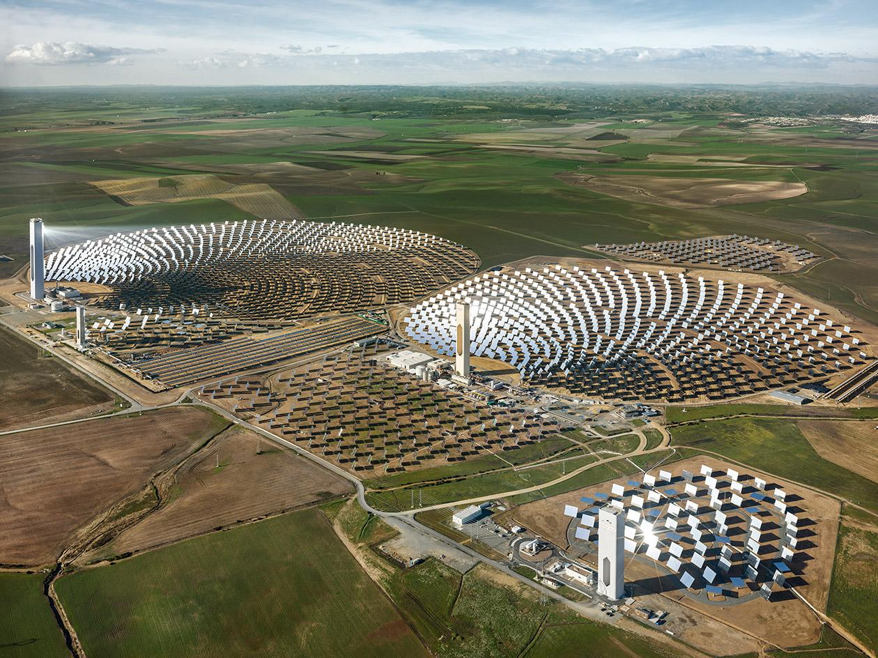 Rendering of a field full of solar panels, part of a SCI-arc presentation