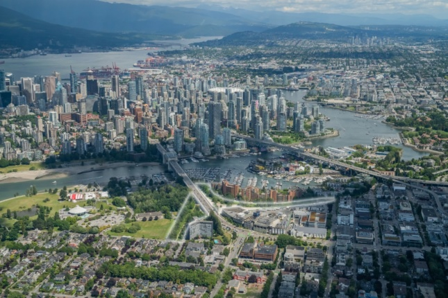 An aerial view of vancouver showing a plot of land that is to soon be developed