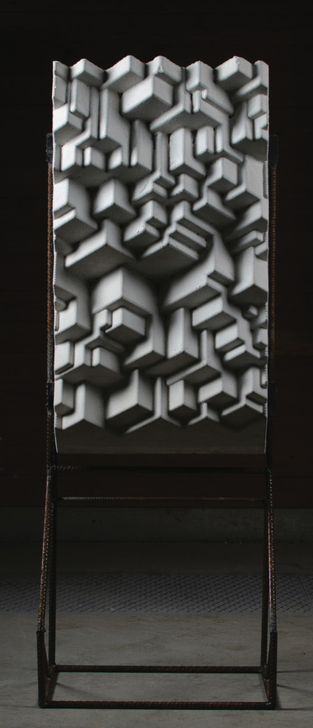A concrete panel held in a steel framework
