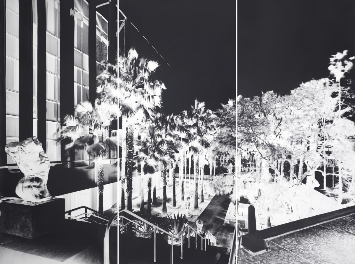 Inverted image of LACMA building shot with camera obscura