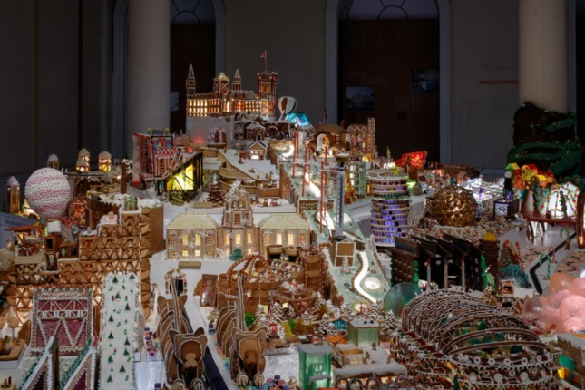 A sprawling gingerbread city complete with public services