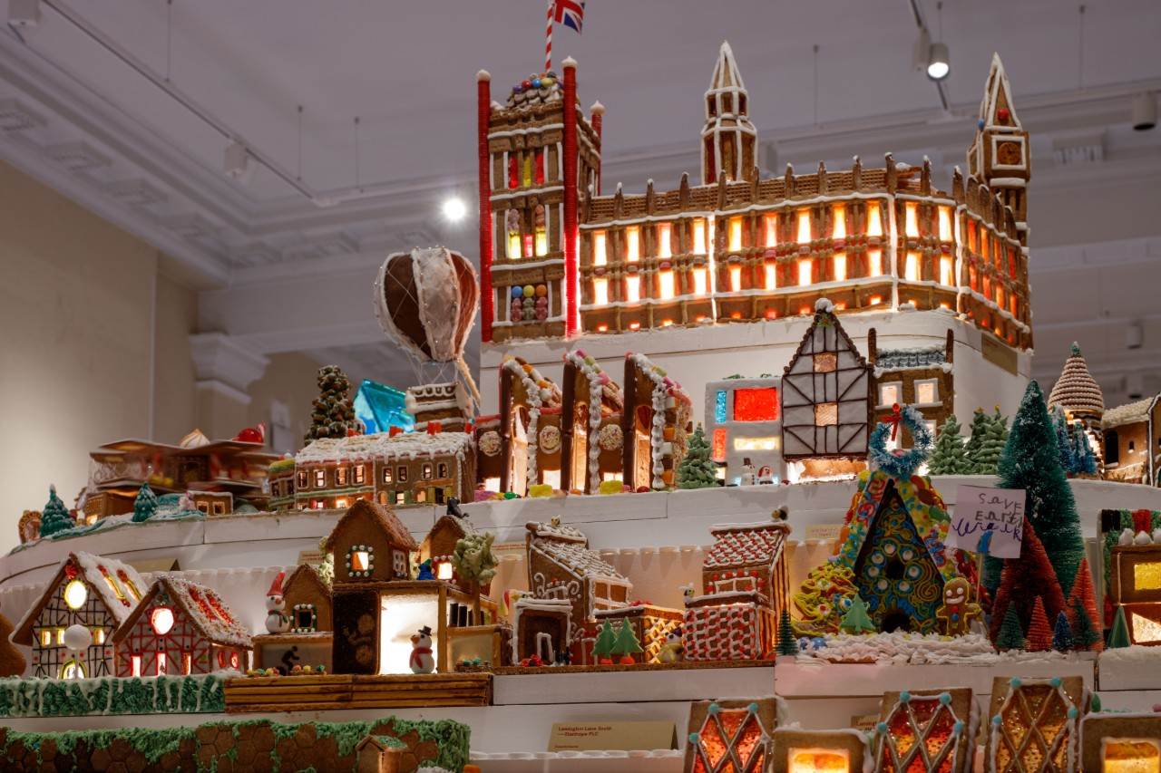 A gingerbread house city designed and built by architects and designers in london