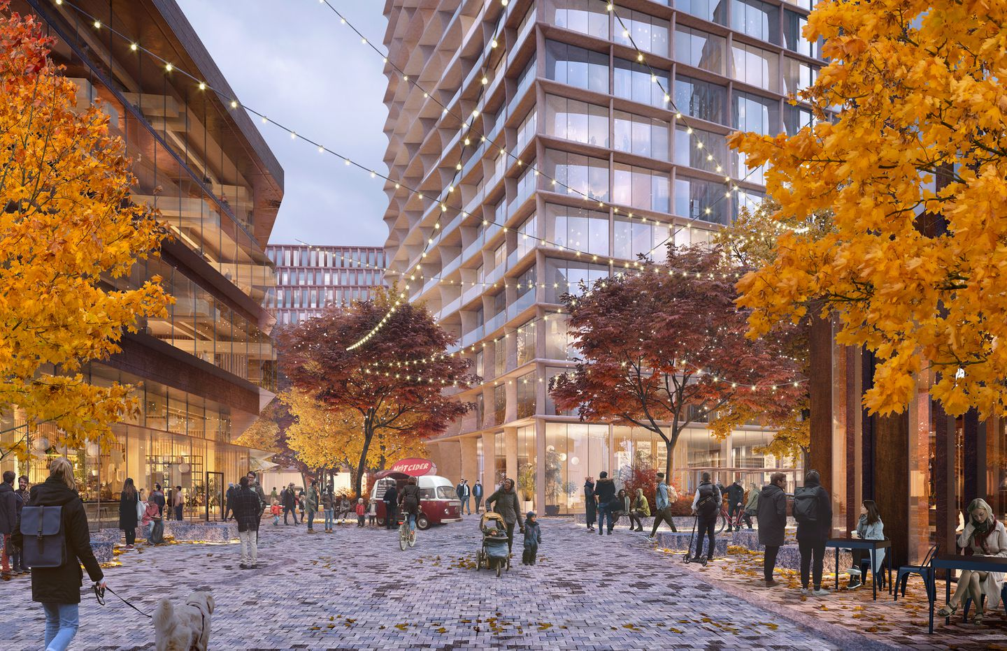 Rendering of innovation campus plaza in the fall at Harvard