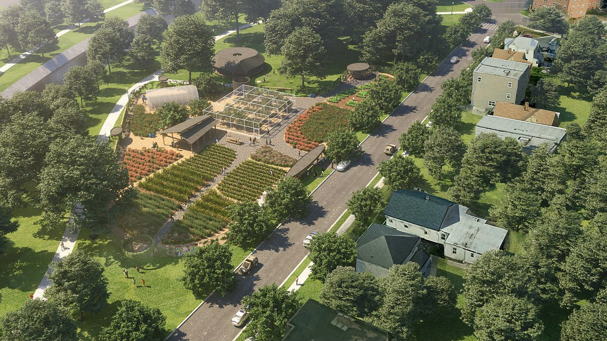 Aerial rendering of urban farm in neighborhood designed by SHoP Architects