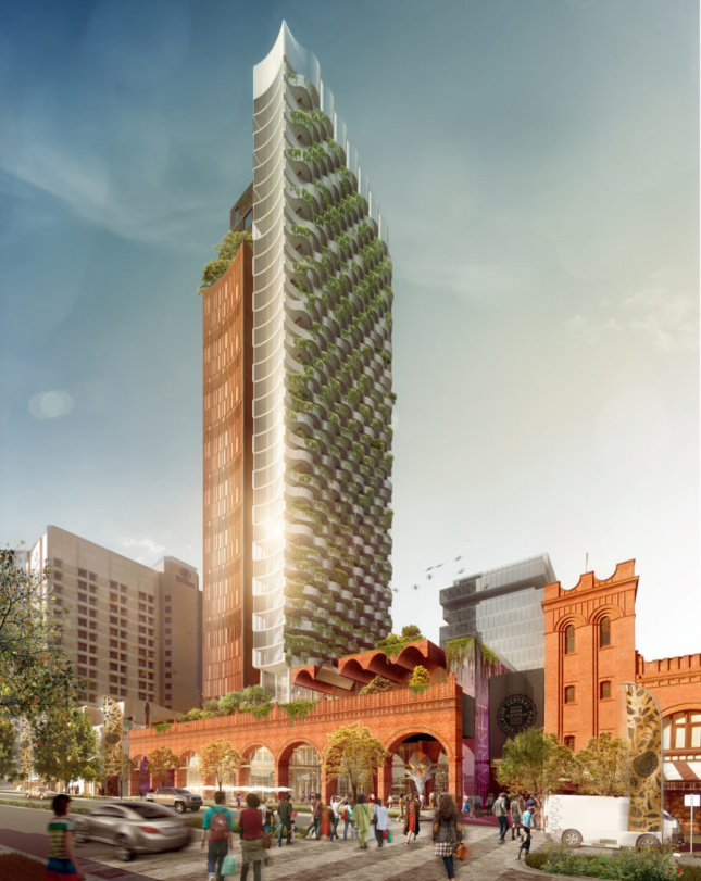 A rendering of a tower with green terraces and a large brick building with multiple arched entryways