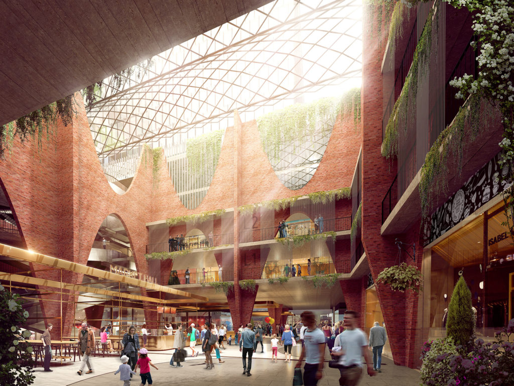 A rendering of a light-filled arcade constructed in brick and glass in the Adelaide Central Market