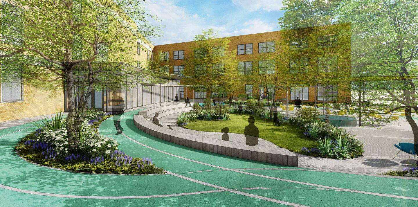 A rendering of a public housing project with a large inner courtyard with green space