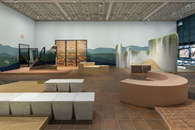 Architectural elements fill a gallery at a museum