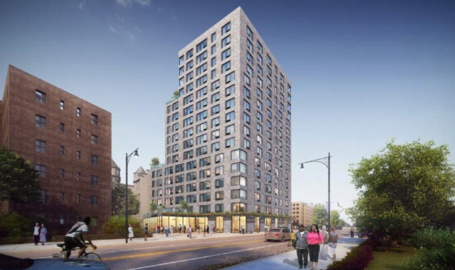 A rendering of a 17 story mixed use building on a city street, the new Stonewall House