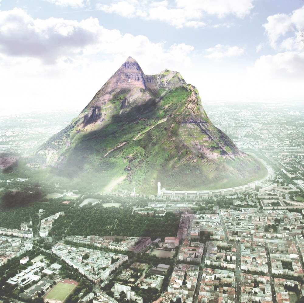 A render of a large mountain rising out of Berlin.
