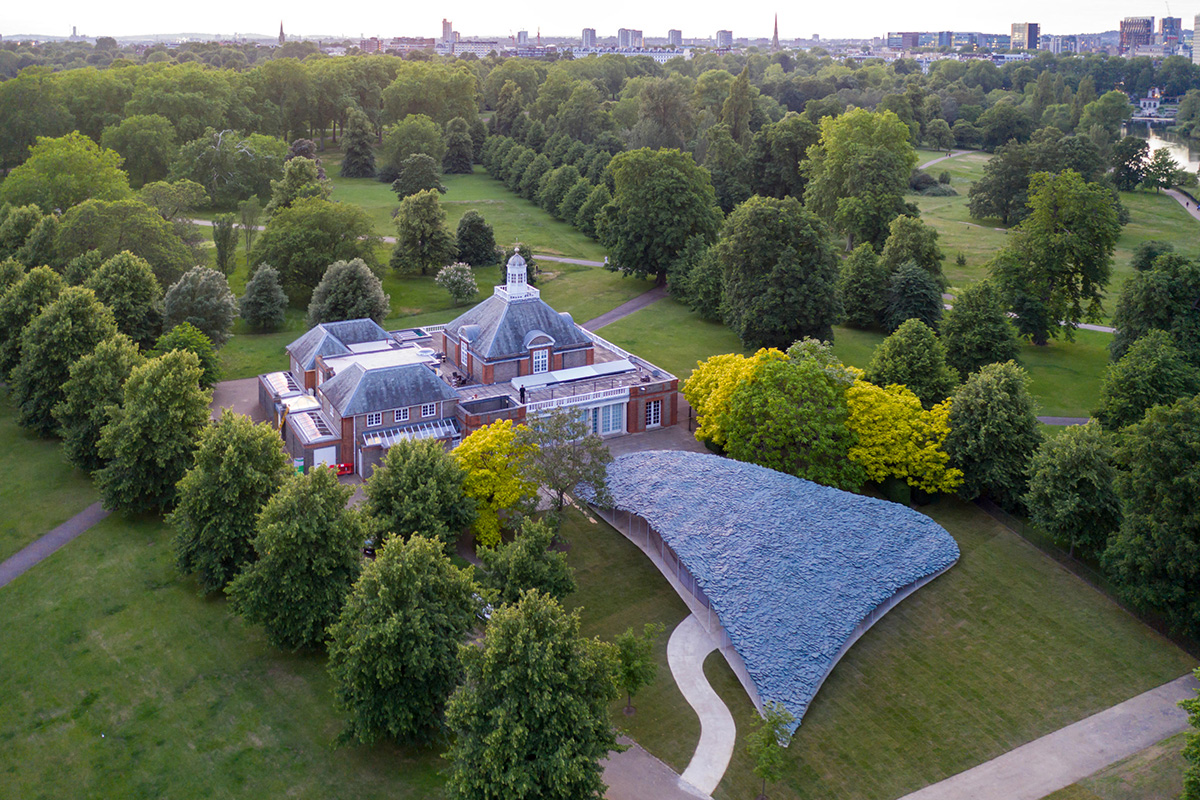 Architecture pavilion seen from above at the Serpentine Gallery