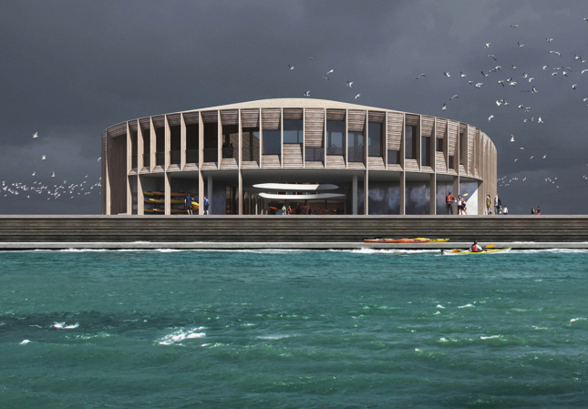 a round, timber-clad building sits on the waters edge. The rendering shows a cloudy sky and blue water
