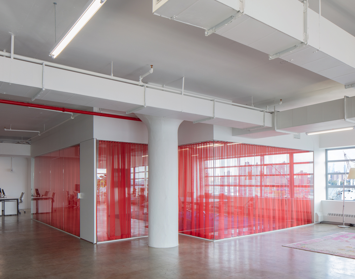 Interior of Office with colored curtain